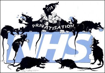 NHS privatisation cartoon, photo Alan Hardman