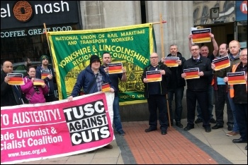 RMT members protesting against new Northern Rail franchise, photo Iain Dalton