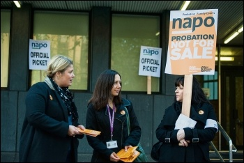 Women striking against attacks on the probation service, photo Paul Mattsson