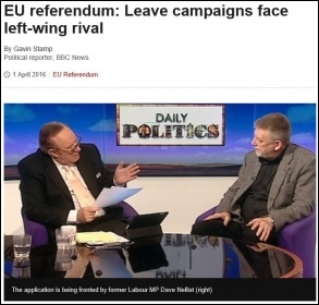 BBC reports on TUSC bid to be official EU 'leave' campaign