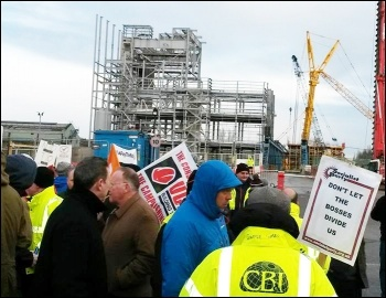 Protest outside Templeborough Waste to Energy power station in Rotherham, 7.4.16, photo by A Tice