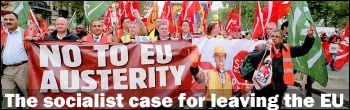 RMT banner No to EU austerity