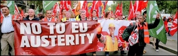 RMT banner: No to EU austerity, photo Paul Mattsson