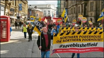 Marching against BIS Sheffield closure, 9.4.16, photo Alistair Tice
