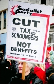 Rally against benefit cuts in Cardiff, photo Becky Davis
