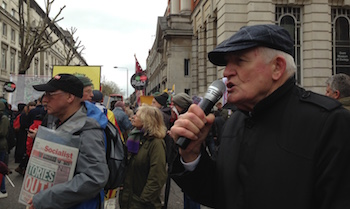 Tony Mulhearn (Liverpool 47) speaking from the Socialist Party's 'open mic' on the 16th April national anti-austerity demonstration in London, photo Paula Mitchell