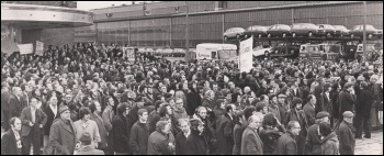 Toolworkers mass meeting at British Leyland Longbridge in 1977, photo Dave Evans