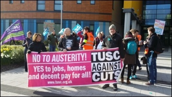UNISON and TUSC activists in solidarity with junior hospital doctors. Doctors support group will be set up on Wednesday. Photo by Paul Gerrard.