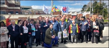 Blackpool doctors' picket, visited by Usdaw conference delegates, 26.4.16, photo Scott Jones