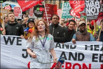 A student nurse marching against austerity, 16.4.2016, photo by Paul Mattsson