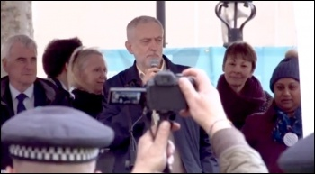 Jeremy Corbyn addressing a demonstration in support of the junior doctors and teachers, photo by Socialist Party