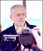 Jeremy Corbyn addressing a demonstration in support of the junior doctors and teachers