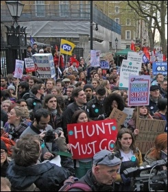Striking junior doctors marching with teachers in London, 26.4.2016, photo by Paul Mattsson