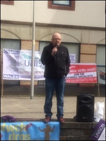 Rob Owen, speaking at Llanelli May Day rally, 30 April 2016