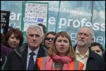 Jeremy Corbyn and John McDonnell joined the joint Junior doctors and teachers demonstration 26-4-16, photo Paul Mattsson