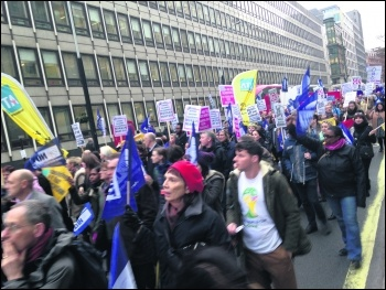 Teachers marching through London against Tory attacks on education, photo Sarah Wrack