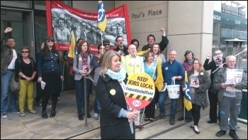Sheffield: PCS BIS strike; Marion Lloyd (President of PCS BIS group) in the foreground. 19.5.16 , photo A Tice