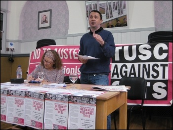 Rob Williams speaking at the TUSC meeting in Leicester photo Leicester Socialist Party