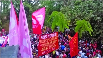 CWI banner on an anti-Temer protest in 2016