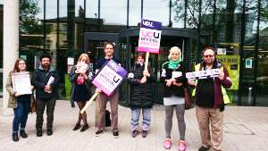 UCU strikers in Leeds, 25.5.16, photo by Iain Dalton