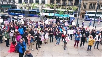 Part of the crowd at a UCU strike rally in Leeds City Centre, 25.5.16, photo Iain Dalton