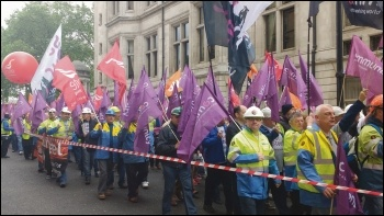 Tata Steel workers marching outside parliament, 25.5.16, photo Scott Jones
