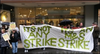 Striking Pennine Foods workers picket Marks and Spencer, May 2016, photo by Alistair Tice