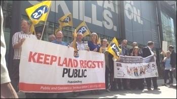 PCS members demonstrating against privatisation of Land Registry