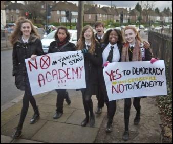 Sedgehill school students fighting academisation in Lewisham, photo by Martin Powell-Davies
