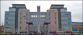 Peterborough City Hospital built with PFI, photo Davecrosby uk (Creative Commons)