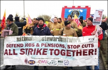 Workers coming into conflict with the government: Marching behind the NSSN banner