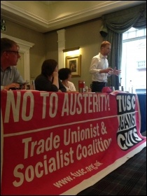 Paul Embery speaks at the TUSC meeting in Cardiff photo Ross Saunders