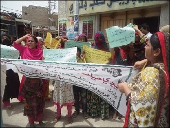 Health workers protesting against non-payment of wages in Pakistan, June 2016, photo by Sughran Khaskheli
