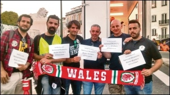 João (left) with dock workers in Portugal sending solidarity to National Museum Wales strikers