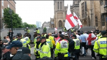 The tiny, fascist South West Infidels group march through Bristol surrounded by a huge police presence, 4.6.2016, photo by Bristol SP