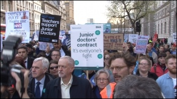 Corbyn, under attack after Brexit result, supporting the junior doctors and teachers