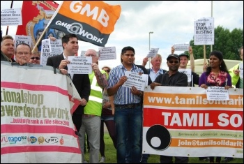 NSSN, Tamil Solidarity, Richard Burgon MP and others at the protest photo Michael Barker
