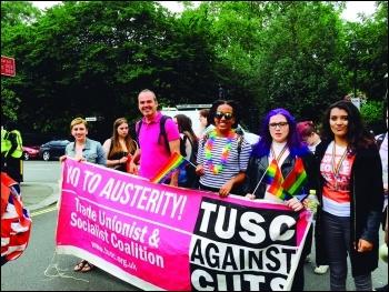 Socialist Party members marching as part of TUSC at London Pride photo Sarah Sachs-Eldridge