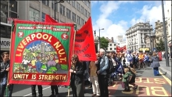 Liverpool NUT march, 5.7.16, photo Hugh Caffrey