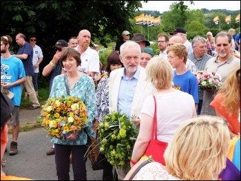 Jeremy Corbyn with Frances O'Grady, Tolpuddle, July 2016, photo by Matt Carey