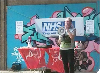 Malcolm Moreland, local trades council chair,  speaking