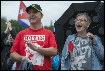 Sean Hoyle (left) supporting Corbyn at the Durham Miners' Gala 2016 photo Paul Mattsson, photo Paul Mattsson