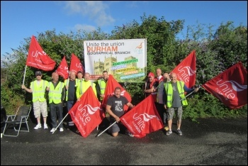 Shopfitters from HMY Radford in Burnopfield  on a three-day strike,  Wednesday 3rd August., photo by E Brunskill
