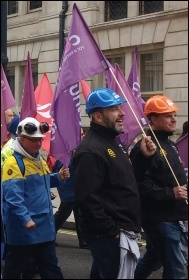 Tata Steel workers marching to save their jobs - a Labour Party which backs nationalisation could revive dying industry, photo Scott Jones