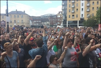 3,000 people rallied for Jeremy Corbyn in Hull, 30.7.16, photo Michael Hurst