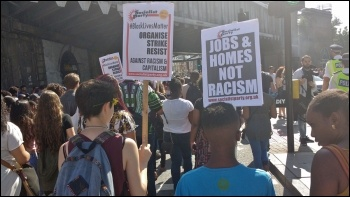 South London #BlackLivesMatter march going past London Bridge, 6.8.16, photo James Ivens