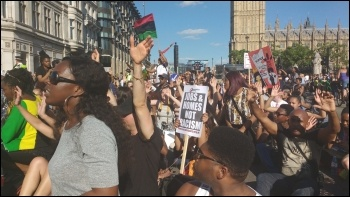 South London #BlackLivesMatter sit-down protest outside Parliament, 6.8.14, photo James Ivens