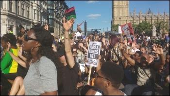 South London #BlackLivesMatter sit-down protest outside Parliament, 6.8.14, photo James Ivens