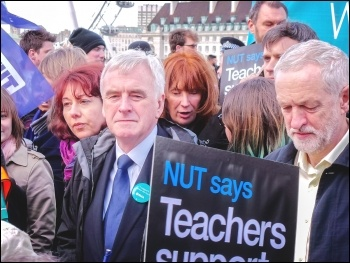 Jeremy Corbyn and John McDonnell marching with teachers and junior doctors, 2016, photo Garry Knight (Creative Commons)
