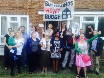 'They shall not pass!' Butterfields campaigners, photo Waltham Forest Trades Council